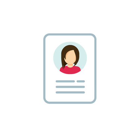 Personal info icon vector illustration isolated, flat cartoon style line outline design of user or profile card details symbol, my account pictogram idea, identity document with person photo and text