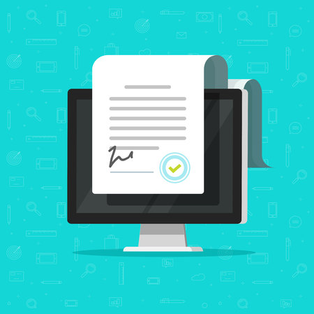 Online electronic documents on computer display vector illustration, flat cartoon paper document and signature on desktop pc screen, concept of digital or internet office, on-line deal, web paperwork