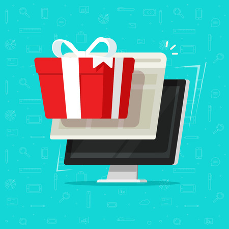 Gift from computer vector illustration, flat cartoon desktop pc and online digital gift box, concept of on-line bonus prize or internet promo reward, surprise received, electronic win or award
