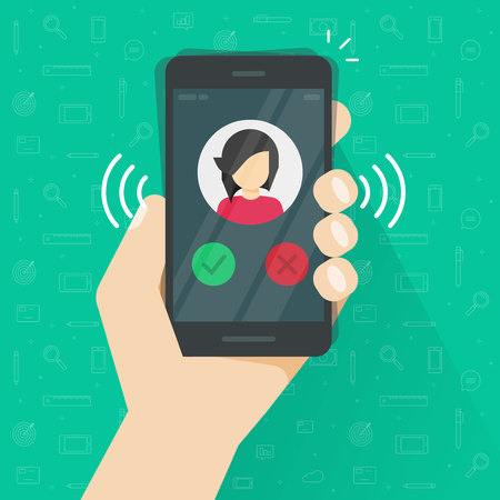 Smartphone or mobile phone ringing or calling vector illustration, flat cartoon black cellphone call or vibrate with contact info on display in hand, ring of phone icon