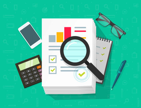 Analytics data research vector. analysis on big pile of paper sheet documents via magnifier