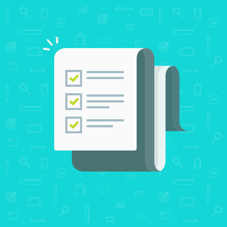 Checklist vector illustration, flat cartoon paper sheet with complete to do list checkmarks, idea of feedback report, success research, survey or questionnaire test form, assess or evaluation document