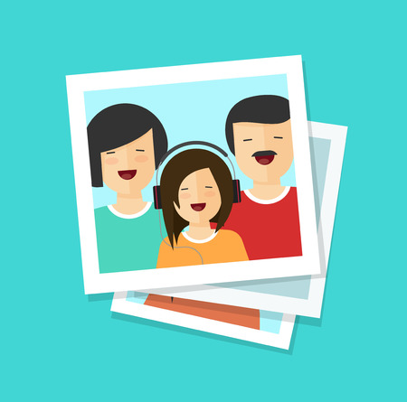 Photo cards or happy family vector illustration, flat cartoon photos or man, woman and girl together, lots of photographs