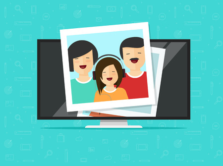 TV flat screen with photo cards vector illustration, flat cartoon computer lcd monitor or led television display showing photos, idea or media player, digital photography album gallery online