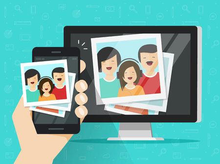 Smartphone streaming photo cards on computer vector illustration Illustration