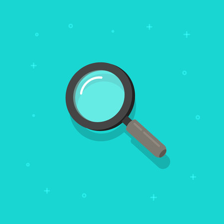 Magnifying glass vector icon, flat cartoon magnifier