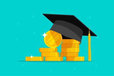 Ilustración de vector de educación y dinero, sombrero de graduación de dibujos animados plana y monedas en efectivo, concepto de costo de la beca o préstamo.