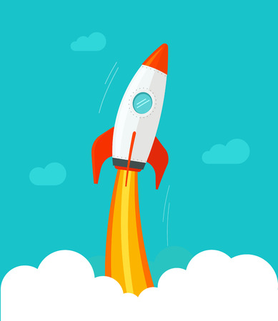 Rocket ship flying vector illustration, flat cartoon comic design or rocket ship launch, missile flight in the sky