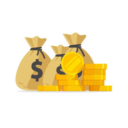 Wektor pieniędzy, duży stos lub stos złotych monet i gotówki w workach, dużo pieniędzy na białym tle, idea bogactwa, bogactwa lub sukcesu inwestycji, skarb lub bogata nagroda, dochód z zarobków lub oszczędności płaski kreskówka