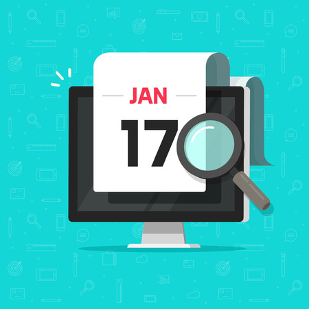 Computer with calendar date and magnifier glass searching flat cartoon vector illustration, concept or digital pc organizer or planner event find, electronic agenda schedule, deadline reminder tool