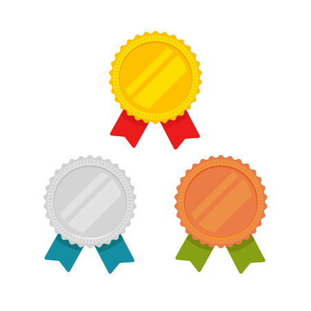 Medals vector set isolated, flat cartoon gold, bronze and silver medal with red, green and blue ribbon, sport award medallions, idea of blank quality or best badge or label, guarantee emblems