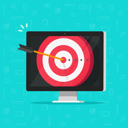 Target aim with arrow in bullseye on computer display vector, concept of success business goal, digital marketing promotion, good online campaign or strategy, internet audience targeting, mission