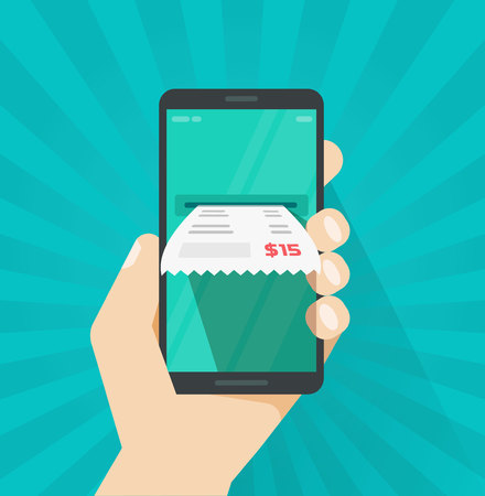 Receipt bill on smartphone vector illustration, flat cartoon paper invoice on mobile phone, cellphone electronic check on hand, internet digital banking concept, online tax payment