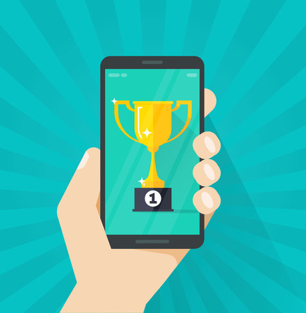 Mobile phone and success winner holding golden cup prize Illustration