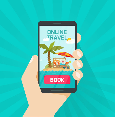 Online trip booking via smartphone vector illustration, concept or on-line travel or journey book button with mobile phone, flat cartoon cellphone in hand and beach resort and sea landscape