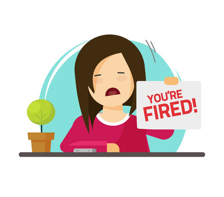 Fired from job vector illustration, flat cartoon sad person on work with you are fired notice on paper sheet, dismissed angry employee character on office table