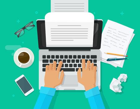 Écrivain écrit sur l'illustration vectorielle de feuille de papier d'ordinateur, éditeur de personne de dessin animé plat écrire vue de dessus de texte de livre électronique, ordinateur portable avec lettre d'écriture ou journal, auteur journaliste travaillant Vecteurs