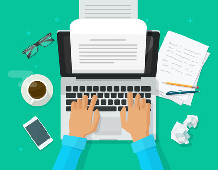 Escritor escribiendo en la ilustración de vector de hoja de papel de computadora, editor de persona de dibujos animados plana escribir vista superior de texto de libro electrónico, computadora portátil con carta de escritura o diario, autor de periodista trabajando Ilustración de vector