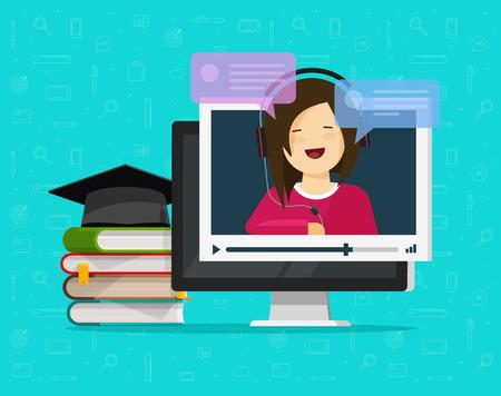 Webinar-Vektorillustration, flacher Cartoon-Computer, Video-Online-Internet-Training ansehen, Ausbildung auf Desktop-PC, Lern- oder Studienkonzept, Videoanruf-Chat oder digitales Online-Tutorial