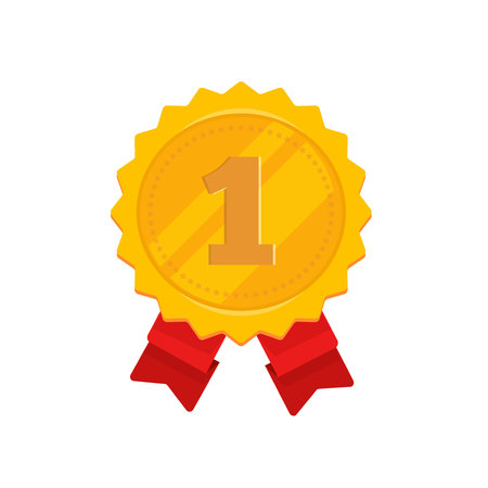 Golden medal with 1st place vector illustration, flat cartoon design of gold medallion in rosette shape label with number 1, award symbol, achievement badge isolated on white