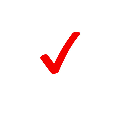 Tick icon vector symbol, marker red checkmark isolated on white background, checked icon or correct choice sign doodle or handwritten style, check mark or checkbox pictogram