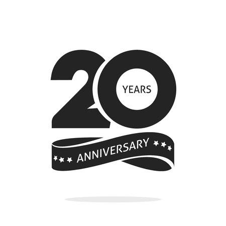 Plantilla de logotipo de aniversario de 20 años aislado en blanco, sello blanco y negro Etiqueta de icono de 20 aniversario con cinta, símbolo de sello de cumpleaños de veinte años