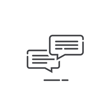 Chat messages icon notification vector illustration, line outline style sms conversation bubbles with text, chatting symbol or sign isolated, speech or talk linear art pictogram, comment balloons