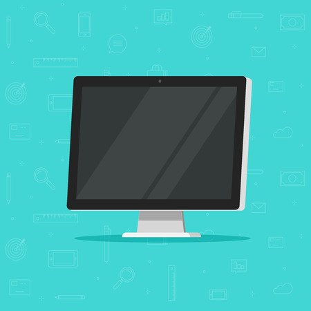 Computer monitor vector illustration, flat cartoon design of wide screen display isolated, modern led lcd tv or monitor in 3d style Ilustração