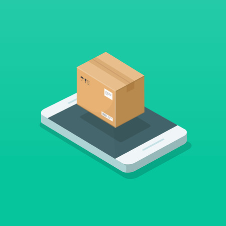 Parcel box on mobile phone vector illustration, flat cartoon smartphone with package cargo cardboard box, concept of online order delivery tracking via cellphone, digital shipping track isometric  イラスト・ベクター素材