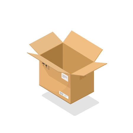 Parcel open vector illustration, cartoon 3d isometric cardboard box opened, empty package isolated