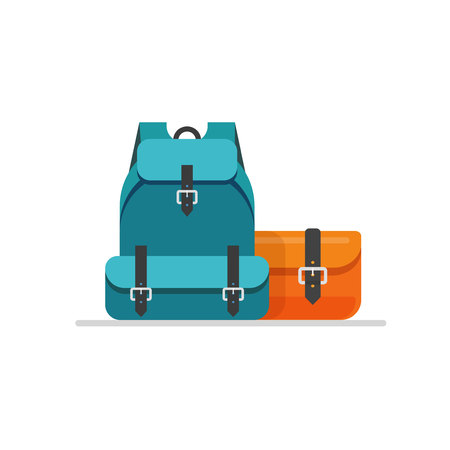 Luggage isolated vector illustration, flat cartoon travel baggage, bag or handbag and backpack ready for trip