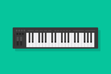 Electronic musical piano keyboard vector illustration, flat cartoon midi controller or synthesizer isolated