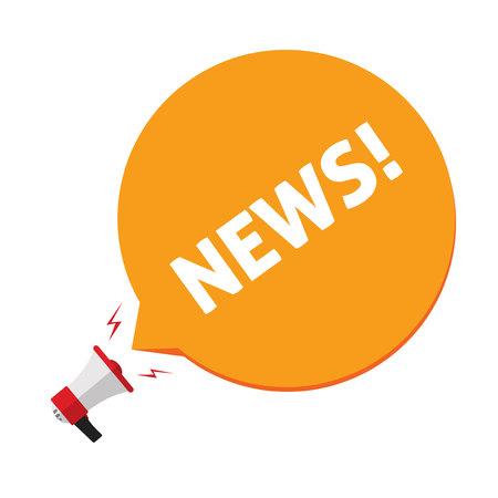 Nachrichtenankündigung über Megaphon-Vektor-Illustration, flache Cartoon Megaphon und Nachrichtentext in Blasenrede auf weißem Hintergrund