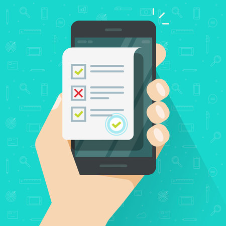 Online form survey on smartphone vector illustration, flat cartoon mobile phone with quiz exam sheet document icon, on-line questionnaire results, check list or internet test on cellphone 矢量图像
