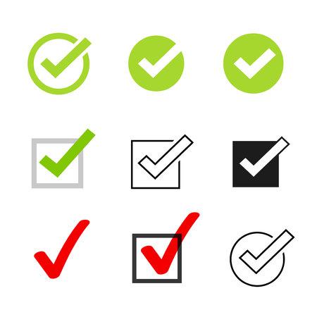 Kreuzen Sie den Vektorsymbolsatz der Symbole an, die auf weißem Hintergrund isolierte Häkchensammlung, das markierte Symbol oder das richtige Auswahlzeichen, das Häkchen oder das Kontrollkästchenpiktogramm