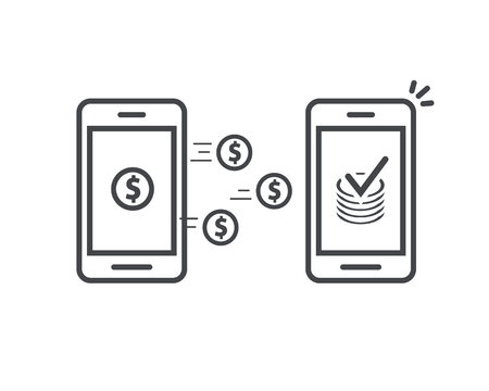 Money transfer via mobile phones vector icon, line outline art smartphones with cash wallets coins transferring money wireless, cellphones transaction received