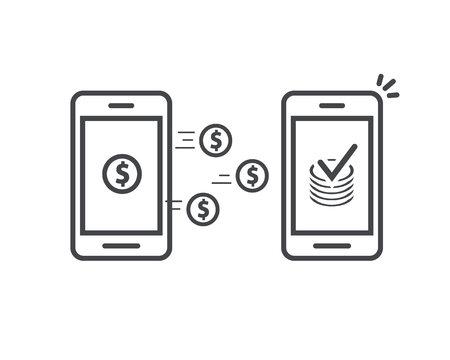 Trasferimento di denaro tramite icona di vettore di telefoni cellulari, smartphone di arte di contorno di linea con monete di portafogli di denaro che trasferiscono denaro wireless, transazione di cellulari ricevuta