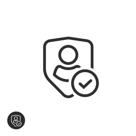 Privacy icon vector, line art outline shield with user silhouette symbol, personal protection authentic sign, authentication security icon, secure confidentiality label isolated