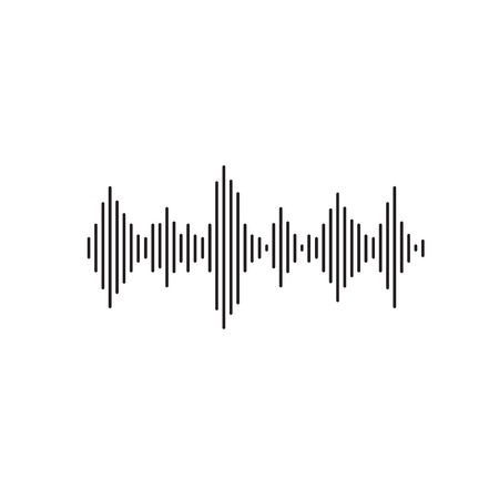 Sound wave vector illustration, flat simple line acoustic or sonic wave or signal isolated