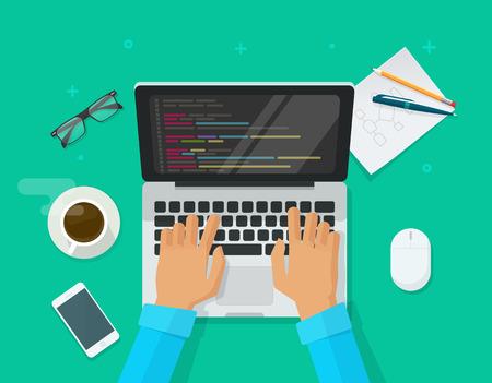 Programmeur codant sur ordinateur portable sur illustration vectorielle de bureau de travail, pigiste plat de dessin animé assis sur la table de travail et code de programmation sur pc, vue de dessus de table de développeur web