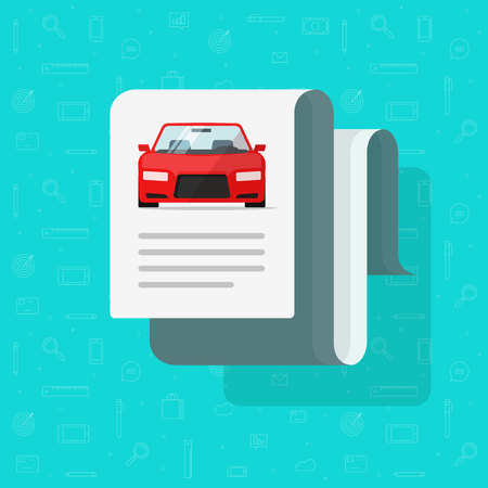 Car document text vector illustration, flat cartoon automobile with paper page data or description, idea or auto history Illustration