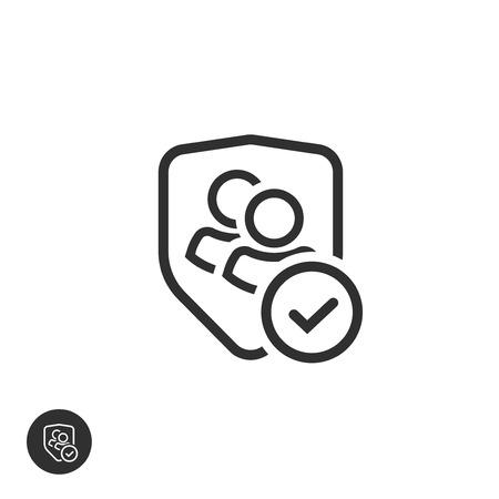Icône vectorielle de confidentialité du groupe d'utilisateurs, contour de la ligne des données d'équipe authentiques ou confidentielles, deux personnes protégées par un bouclier et une coche ou une coche, symbole de partenariat vérifié, communication sécurisée ou sûre