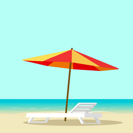 Beach lounge with empty chair near sea and sun umbrella vector illustration, flat cartoon seafront resort landscape with beach sand, idea of vocation travel relax place