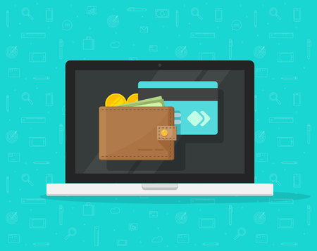 Electronic wallet on laptop computer vector icon, flat cartoon design desktop pc screen with digital money wallet and credit card, internet banking concept, wireless money transfer, internet cash