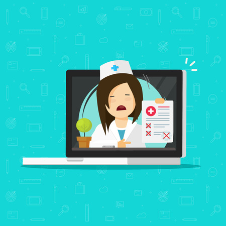 Doctor showing bad diagnosis results on computer vector, flat cartoon unhappy woman medic or physician and paper document form online, disapproved or failed results, telemedicine medical report Illustration
