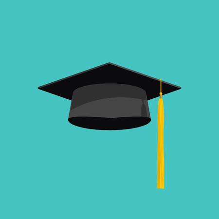 Vecteur de chapeau de graduation isolé sur fond bleu, chapeau de graduation avec icône plate de gland, casquette académique, image de casquette de remise des diplômes, illustration de casquette de remise des diplômes