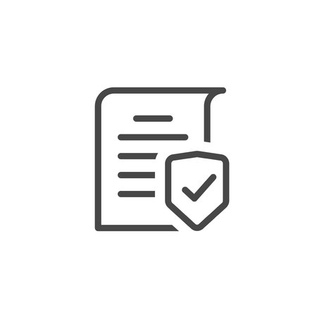 Document protection concept line art outline, confidential information and privacy idea, security documentation access or documents safety, secure data with paper doc roll and guard shield vector