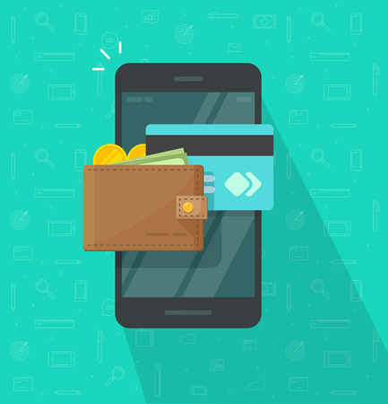 Portfel elektroniczny na ikonę smartfona wektor, płaski ekran telefonu komórkowego kreskówka z portfela pieniędzy cyfrowych i karty kredytowej, bankowości internetowej, przelewu bezprzewodowego, gotówki internetowej telefonu komórkowego Ilustracje wektorowe