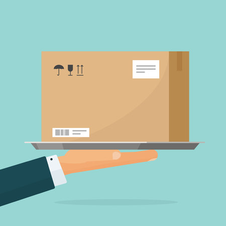 Courier deliver parcel box vector illustration, flat cartoon person hand holding carton package, concept of delivering service Vettoriali