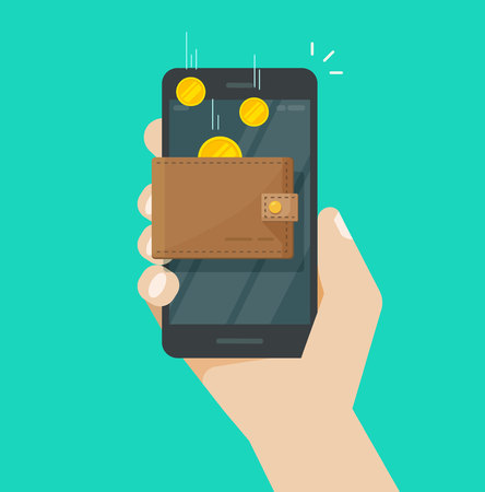 Online income money in electronic mobile phone wallet vector, flat coins transferring in wallet on hand with smartphone, concept of fund savings, cash earnings, financial success, digital wealth Vektoros illusztráció